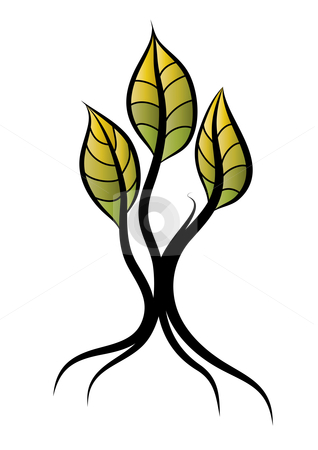 Tree stock vector clipart, Abstract tree with big leaves, vector illustration by Milsi Art