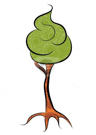 Tree stock vector clipart, Abstract foam tree, vector illustration by Milsi Art