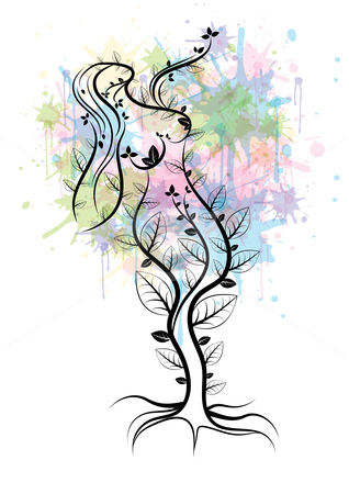 Mother nature tree stock vector clipart, Mother nature tree concept, eps10 vector illustration by Milsi Art