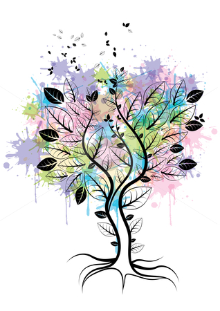 Tree stock vector clipart, Abstract tree with watercolor splats, eps10 vector illustration by Milsi Art