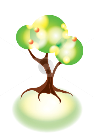 Tree stock vector clipart, Abstract tree on shiny soil, eps10 vector illustration by Milsi Art