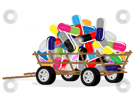 Tablets  on a car stock vector clipart, Collection of medical tablets and pills placed on a rural cart by Alina Starchenko