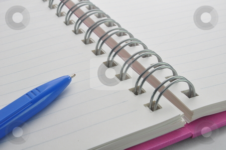 Blank notebook and pen stock photo, Blank notebook and pen by Udomsak Insome