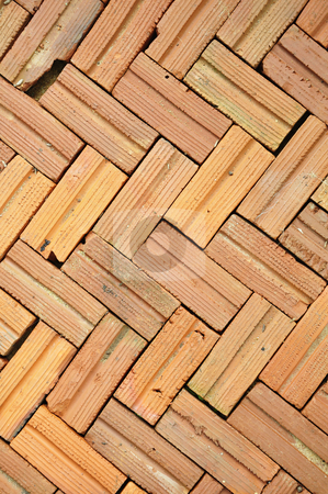 Brick floor pattern stock photo, Brick floor pattern background by Udomsak Insome