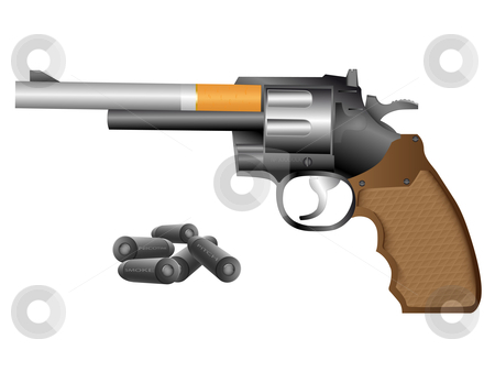 Revolver and cigarette stock vector clipart, The abstract image of revolver is made of a cigarette by Alina Starchenko