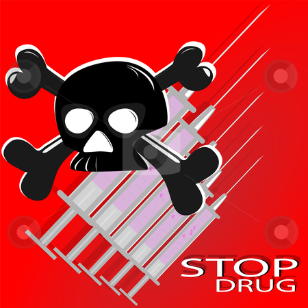 The poster against drugs stock vector clipart, Skull,inscription and syringes on red background by Alina Starchenko