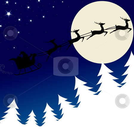 Illustration of Santa and his reindeer stock vector clipart, Santa is flying through the sky in his sleigh by nlrsss