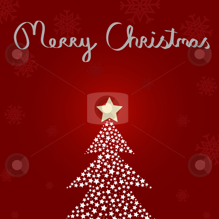 Christmas card stock vector clipart, Christmas card with a tree made of stars. by Jesper Hagemeier