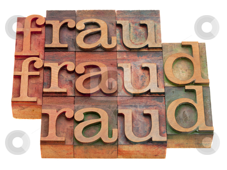 Fraud word abstract stock photo, Fraud word abstract in vintage wooden letterpress printing blocks isolated on white by Marek Uliasz