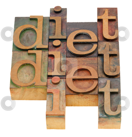 Diet word abstract stock photo, Diet word abstract in vintage wooden letterpress printing blocks isolated on white by Marek Uliasz