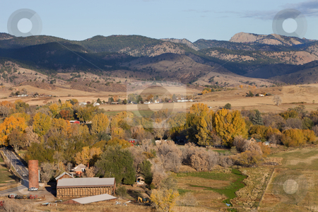 Colorado mountain village and farmland stock photo, Bellvue and Pleasant Valley with Greyrock in northern Colorado near Fort Collins, a town and farmland in fall scenery by Marek Uliasz