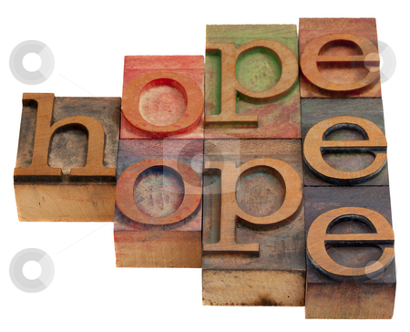 Hope word abstract stock photo, Hope word abstract in vintage wooden letterpress printing blocks isolated on white by Marek Uliasz