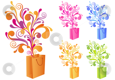 Decorative shopping bag, vector stock vector clipart, Shopping bag with floral ornament, vector background by Beata Kraus