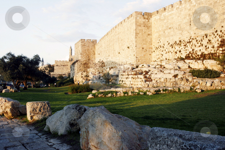Jerusalem Old City Walls with David's Tower stock photo, Jerusalem Old City Walls with David's Tower at sunset by David Mail