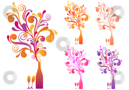 Champagne bottle and glasses, vector stock vector clipart, Champagne bottle with explosive ornament, vector background by Beata Kraus