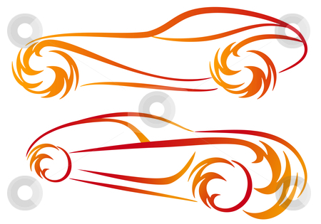 Tattoo cars, vector stock vector clipart, Sport car silhouettes with fire flames, vector sketch by Beata Kraus