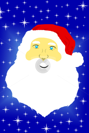 Santa Claus face stock photo, Face of Santa Claus with star in background by Ioana Martalogu