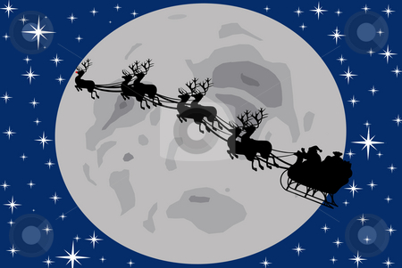 Santa Claus silhouette stock photo, Santa claus driving in a sledge by Ioana Martalogu