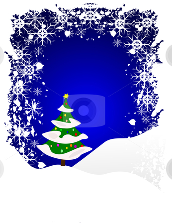 A grunge winter vector background stock vector clipart, A grunge winter vector background illustration with a snow covered decorated tree on snowy hills with a blue sky with room for text by Mike Price