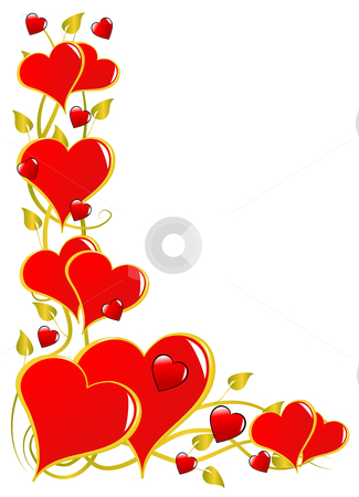 A red Valentines hearts vector background stock vector clipart, A vector background with a series of hearts isolated on white with room for text by Mike Price
