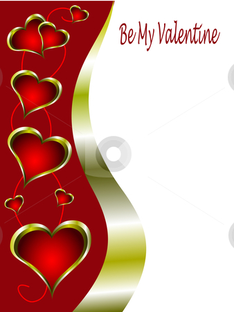 A red and gold Valentines Day Card stock vector clipart, A red and gold Valentines Day Card Template with gold rimmed hearts and room for text by Mike Price