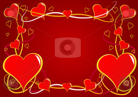 A red Valentines hearts vector background stock vector clipart, A vector background with a series of red hearts on a red graduated backdrop with room for text by Mike Price