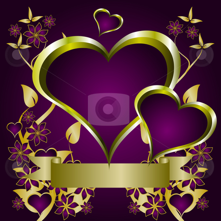 Purple Hearts Valentines Background stock vector clipart, A valentines vector illustration with a heart shaped frame with room for text on a gold floral background by Mike Price