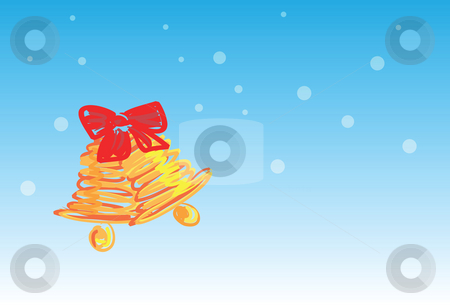 Christmas bell - 4 of 6 christmas cards stock photo, Christmas bells on snowing background, christmas greetings 1 of the 6 same styled christmas cards i draw, please check the rest in my profile. by Mtkang