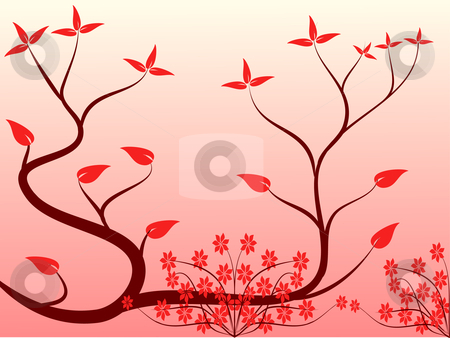 A red floral background stock vector clipart, A red floral background with a red floral design on a pink graduated background by Mike Price