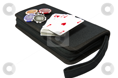 Bag for poker stock photo, Bag with the game of poker on a white background by @ Photofollies by Carla Zagni