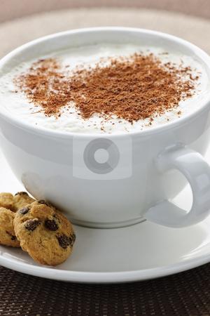 Cappuccino or latte coffee stock photo, Cappuccino or latte coffee in cup with frothed milk and cookies by Elena Elisseeva