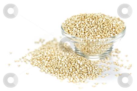 Quinoa grain in bowl stock photo, Quinoa grain in glass bowl on white background by Elena Elisseeva
