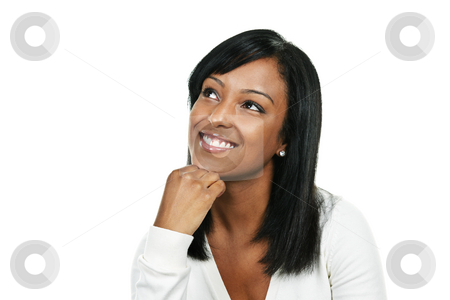 Happy young woman stock photo, Smiling black woman looking up portrait isolated on white background by Elena Elisseeva