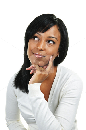 Young woman thinking stock photo, Thoughtful black woman looking up  isolated on white background by Elena Elisseeva
