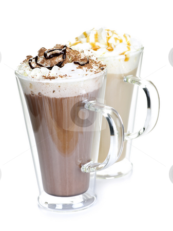 Hot chocolate and coffee beverages stock photo, Hot chocolate and coffee beverages with whipped cream isolated on white background by Elena Elisseeva