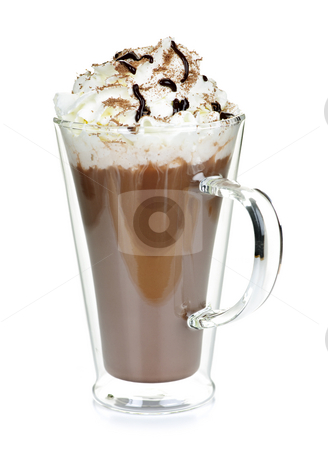 Cup of hot chocolate stock photo, Hot chocolate with whipped cream in mug isolated on white by Elena Elisseeva