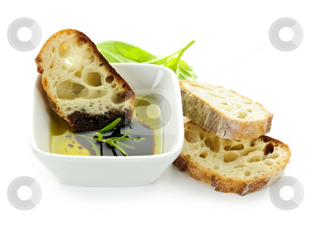 Bread olive oil and vinegar stock photo, Italian food appetizer of bread olive oil and balsamic vinegar by Elena Elisseeva