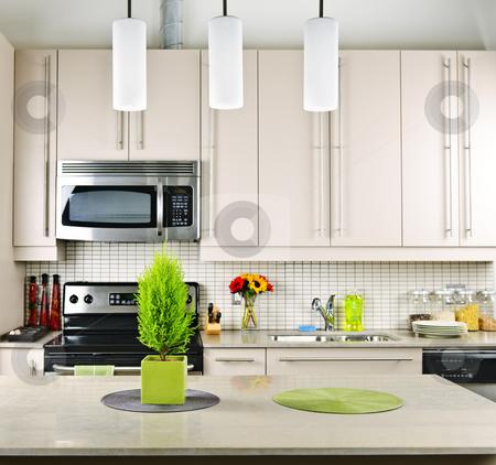 Kitchen interior stock photo, Modern kitchen interior with natural stone countertop by Elena Elisseeva