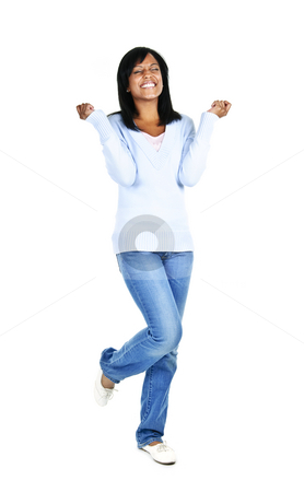 Excited young woman stock photo, Excited black woman with eyes closed isolated on white background by Elena Elisseeva