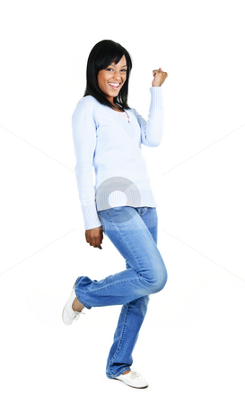 Happy young woman stock photo, Happy black woman celebrating isolated on white background by Elena Elisseeva