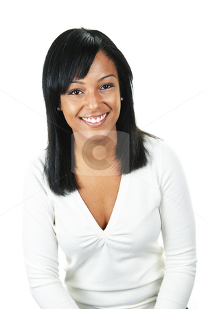Young woman smiling stock photo, Smiling black woman portrait isolated on white background by Elena Elisseeva