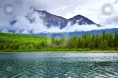 Mountain lake in Jasper National Park stock photo, Patricia Lake and Pyramid Mountain in Jasper National Park, Canada by Elena Elisseeva