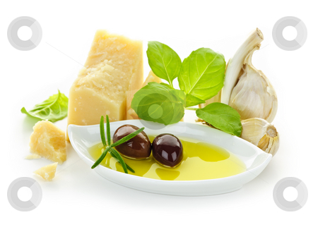 Italian flavors stock photo, Italian food ingredients for traditional cuisine on white background by Elena Elisseeva