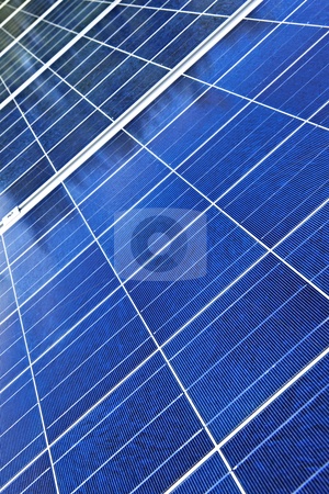 Solar panels stock photo, Array of alternative energy photovoltaic solar panels by Elena Elisseeva
