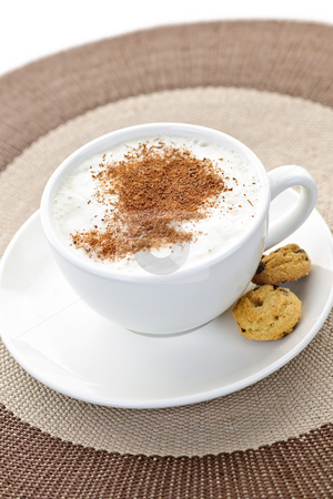 Cappuccino or latte coffee stock photo, Cappuccino or latte coffee in cup with frothed milk and cookies by Elena Elisseeva