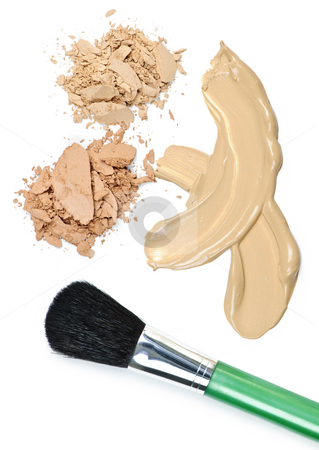 Powder and foundation makeup with brush stock photo, Cosmetic foundation cream and powder with brush on white background by Elena Elisseeva