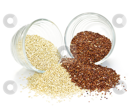 Red and white quinoa grain in bowls stock photo, Red and white quinoa grain in glass bowls on white background by Elena Elisseeva
