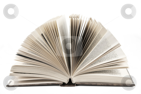 Open book stock photo, Open old fanned hardcover leather bound book by Elena Elisseeva