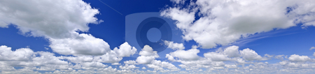 Blue cloudy sky panorama stock photo, Panoramic background of blue sky with white cumulus clouds by Elena Elisseeva