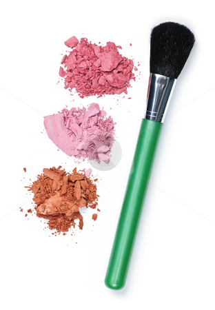 Crushed cosmetics with makeup brush stock photo, Blush cosmetics powder and makeup brush on white background by Elena Elisseeva